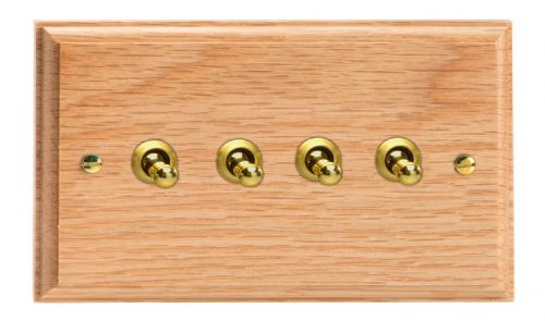 Varilight XKT9O Kilnwood Oak 4 Gang 10A 1 or 2 Way Toggle Light Switch